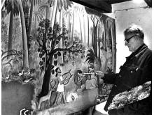 Hans Scherfig maler i sit atelier. Copyright_LAMBERTH