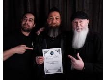 2:a plats Siavash Damenkesh, Barberclub Stockholm tillsammans med domare Amin Iranmanesh och Kenneth Johnsson.