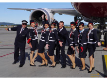 Norwegian long-haul crew in front of the 787 Dreamliner