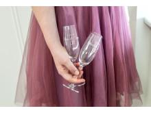 Champagneglas med gravyr