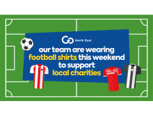 Go North East team members donning football shirts this weekend to mark the end of the season as they approach £10,000 raised for charity and other worthy causes