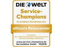 Siegel Service-Champion 2018 alltours Reisecenter