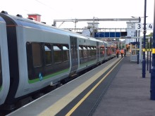 The first electric test train at Bromsgrove station