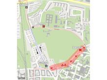 Universitetssjukhuset, temporär resväg för busslinje 123.