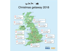 The Christmas getaway 2018 - Top jams by UK region