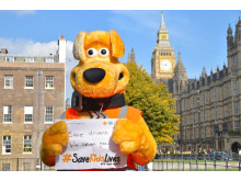 Horace showing his support for #SaveKidsLive campaign in Westminster