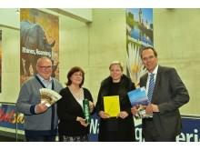 v.l.: Günter Tempelhof, Dr. Ines Zekert, Bettina Auge und Volker Bremer informierten auf der ITB 2017 über Jubiläen 2018 in Leipzig und der Region