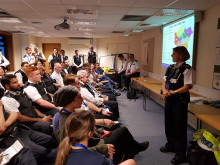 Insp Sonja Morris briefing staff prior to their shift