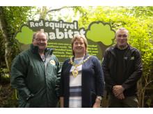 Ballygally Biodiversity Group's Neil McMullan pictured alongside Mayor MEA Cllr Maureen Morrow and Belfast Zoo's Raymond Robinson