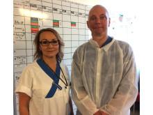 Elisabeth Haddleton (sjuksköterska) och Fredrik Huss (överläkare)