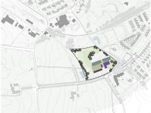 Illustration av planområdet för ny skola i Dalby