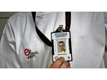 Fotolegitimationen visar att montören har dokumenterad utbildning för våtrumsjobb