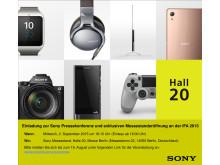 Sony Einladung IFA