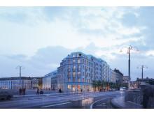 Visionsbild över om- och tillbyggnad av kvarteret Röda Bryggan.