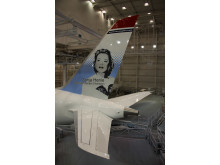 787 Dreamliner in Norwegian's livery with Sonia Henie on tailfin