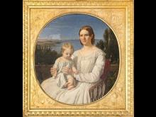 Jørgen Roed, Portræt af Maria Lehmann med datteren Margrethe, 1847. Nivaagaards Malerisamling