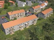 Översiktsillustration av det nya kvarteret, BoKlok Ekbacken.