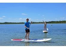 Eine gute Figur machte Martin Dulig beim Stand Up Paddling am Schladitzer See
