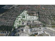 Skissförslag i 3D  över Limhamns nya stadsdel