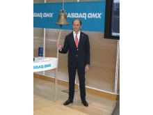 Cavotec CEO Ottonel Popesco rings the NASDAQ OMX trading bell