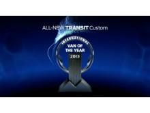 Nye 'Ford Transit Custom ble nylig kåret til årets varebil i Europa.