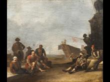 Johannes Lingelbach, Udsigt over en sydlandsk havn i Livorno med købmænd og fanger, et skib og en statue af Ferdinand I de' Medici, u.å. Nivaagaards Malerisamling.jpg