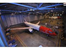 Norwegian-fly i hangar
