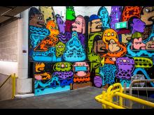 Kunstvegg på Trosterud T-banestasjon
