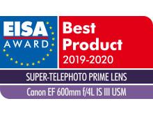 EISA Award Canon EF 600mm f4L IS III USM