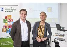CCO fra Lidl, Mikko Forsström og direktør for Hjernesagen, Birgitte Hysse Forchhammer er glade for det treårige samarbejde mellem dagligvarekæden og Hjernesagen.