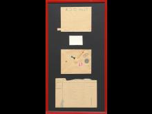 """Dan Turèll: """"L.S.D.-POST"""" –brev-collage (med frimærke, tændstik, papirklips og femogtyveøre)"""