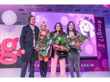Några av årets MegAward-vinnare på kvällens gala: Mattias Beijmo, Annah Björk, Frida Söderlund och Emma Fägerwall