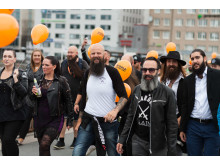 Skäggparad under World Beard Day i Stockholm