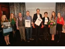 Franziska Franke-Kern (3.v.r.) für CLARA19 und Dr. Walter Ebert, Leiter des Marktamtes der Stadt Leipzig (4.v.l.), erhielten den Leipziger Tourismuspreis 2019 von Volker Bremer (LTM GmbH, 4.v.r.)