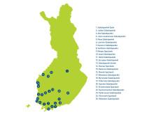 Uudistuvan Säästöpankkiryhmän pankit kartalla, suuruusjärjestys taseen mukaan mukaan 12/2013