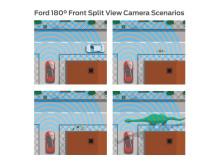 Ford med sitt nye fronkamera som viser oversikten over 180 grader av synsfeltet foran bilen