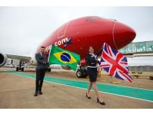 Lontoon Gatwickin ja Rio de Janeiron välinen uusi reitti liikennöidään Norwegianin mukavilla ja ympäristöystävällisillä Boeing 787 Dreamliner -koneilla.
