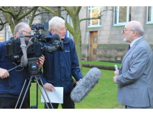 Leader of Moray council, Cllr Stewart Cree, interviewed by STV's Colin Wight