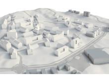 Modell över nytt bostadsområde i Alingsås