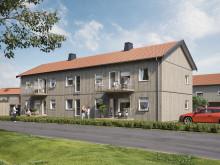 Illustration av gårdssida med altaner/balkonger samt gräsyta, BoKlok Ekbacken.