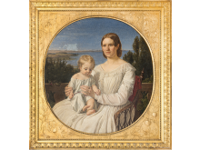 Jørgen Roed - Portræt af Maria Lehmann med datteren Margrethe, 1847. Nivaagaards Malerisamling