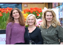 Erika Wallin, Lotta Hovhammar och Malin Hidesäter på Blomsterfrämjandets och MixMegapol unlugged tulpankonsert