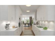 Kastmyntsgatan Högsbohöjd nybyggda hus, vy över köket