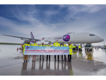 The inaugural flight was welcomed by representatives from Changi Airport Group and dnata.