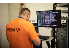 Panalpina employee runs tests on a freshly assembled server
