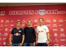 RBL-Sportdirektor Markus Krösche, Geschäftsführer Oliver Mintzlaff und Trainer Julian Nagelsmann
