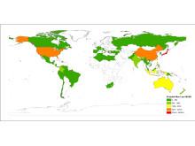 Tsunami risikokart MUSD verden