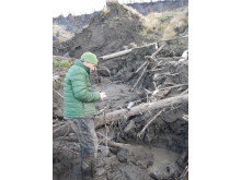Dr Paul Mann taking samples of permafrost