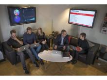 Martin Fredriksson, Ulf Fahlén, Johanna Hovnert, Matti Larsson och Emma Boëthius,  nominerade till Stora Journalistpriset 2017