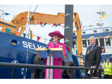 Clare Russell speaking at the naming of the Selkie